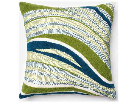 Loloi Rugs 22'' Square Blue & Green Pillow (Sold in 4) Down - DSETP0108BBGRPIL3