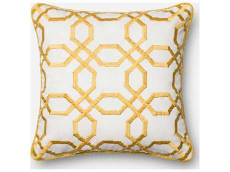 Loloi Rugs 18'' Square Yellow & White Pillow (Sold in 4) Down - DSETP0130YEWHPIL1
