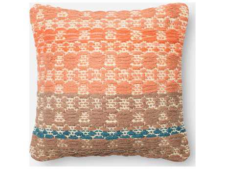 Loloi Rugs 18'' Square Rust & Light Brown Pillow (Sold in 4) Down - DSETP0239RULNPIL1