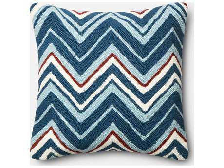 Loloi Rugs 22'' Square Navy & Red Pillow (Sold in 4) Down - DSETP0352NVREPIL3