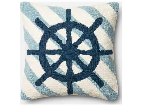 Loloi Rugs 18'' Square Navy & Ivory Pillow (Sold in 4) Down - DSETP0354NVIVPIL1
