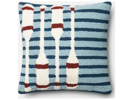 Loloi Rugs 18'' Square Navy & Red Pillow (Sold in 4) Down - DSETP0355NVREPIL1