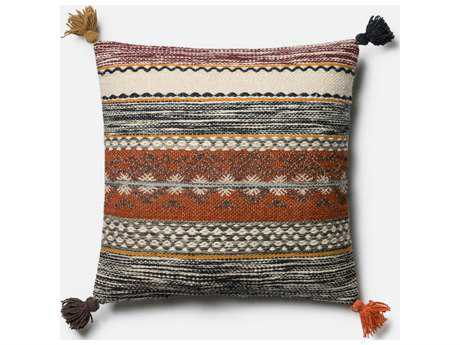 Loloi Rugs 22'' x 22'' Square Rust / Multi-Color Pillow (Sold in 4) Down - DSETP0433RUMLPIL3