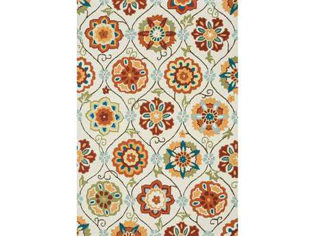 Loloi Summerton Transitional Beige Hand Made Synthetic Floral/Botanical Hearth 2'3'' x 3'9'' Area Rug - SUMRSRS19IVSQ234H
