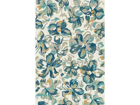 Loloi Tropez Transitional Blue Hand Made Synthetic Floral/Botanical 2'3'' x 3'9'' Area Rug - TROPTZ-04IVFB2339