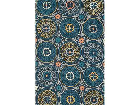 Loloi Tropez Transitional Blue Hand Made Synthetic Floral/Botanical 2'3'' x 3'9'' Area Rug - TROPTZ-07NVML2339