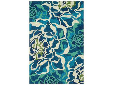 Loloi Ventura Transitional Teal Hand Made Synthetic Floral/Botanical 2'3'' x 3'9'' Area Rug - VENTHVT01AQML2339