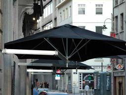 Luxury Umbrellas Paraflex Duo Wallflex 9 Foot Push Lift Tilt Patio Wall Mount Umbrella Set of 2