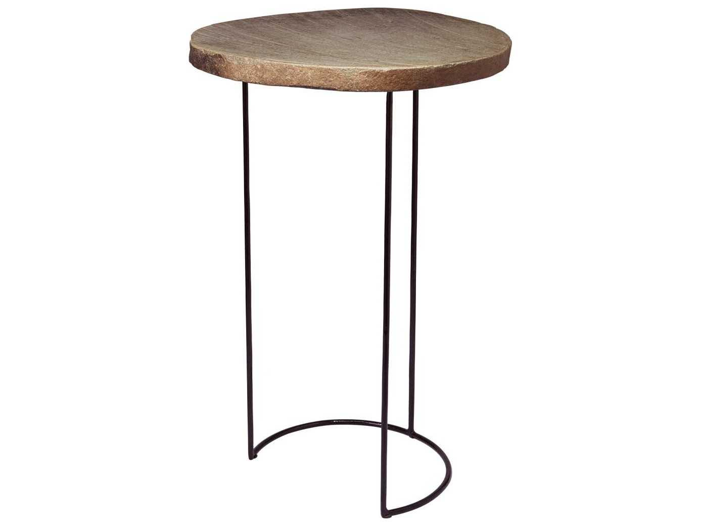 Dimond home 17 x 15 oval stone slab wire frame end table for 15 x 17 living room