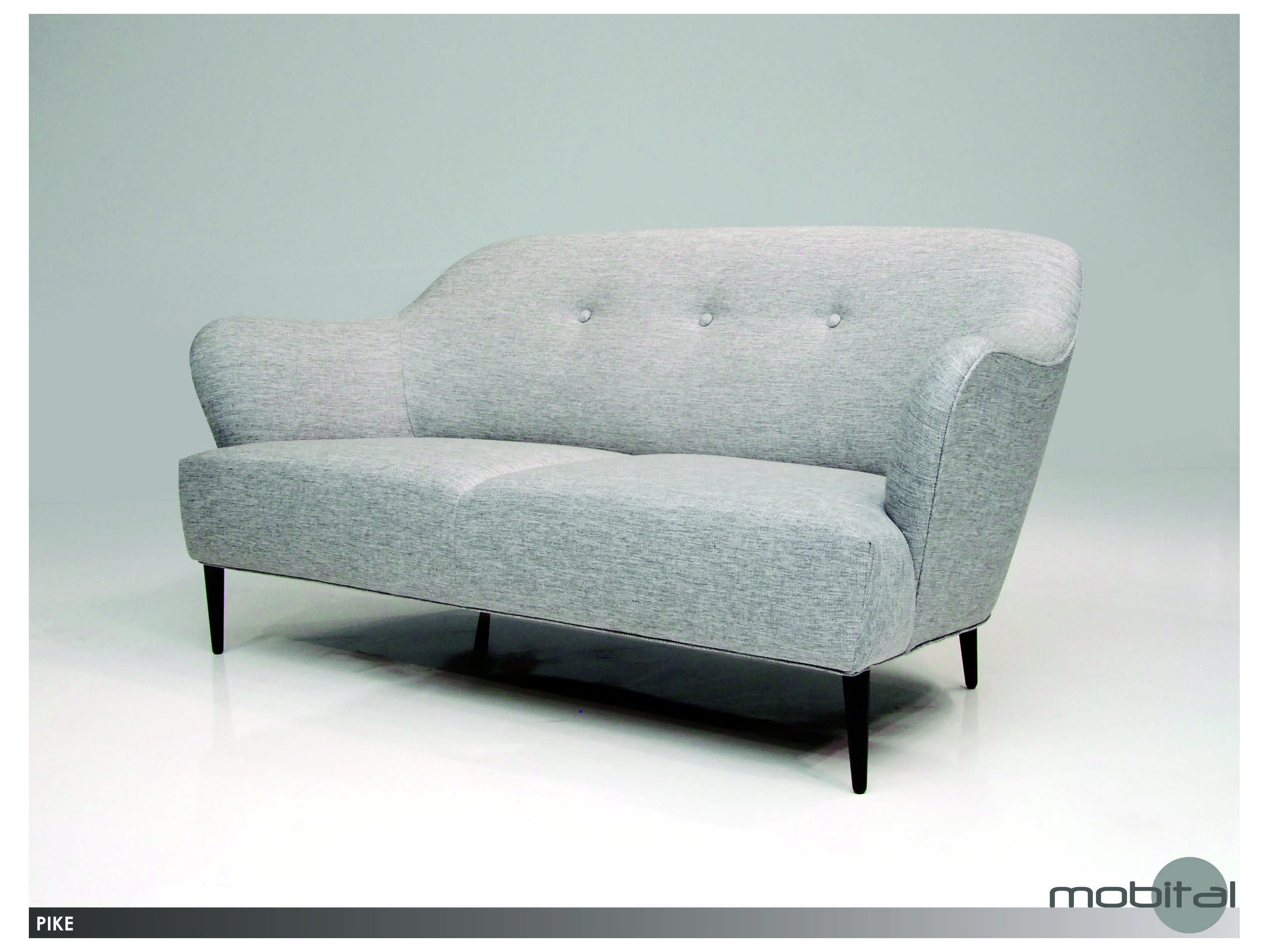 Mobital pike light grey tweed sofa sofpikelgre for Grey tweed couch