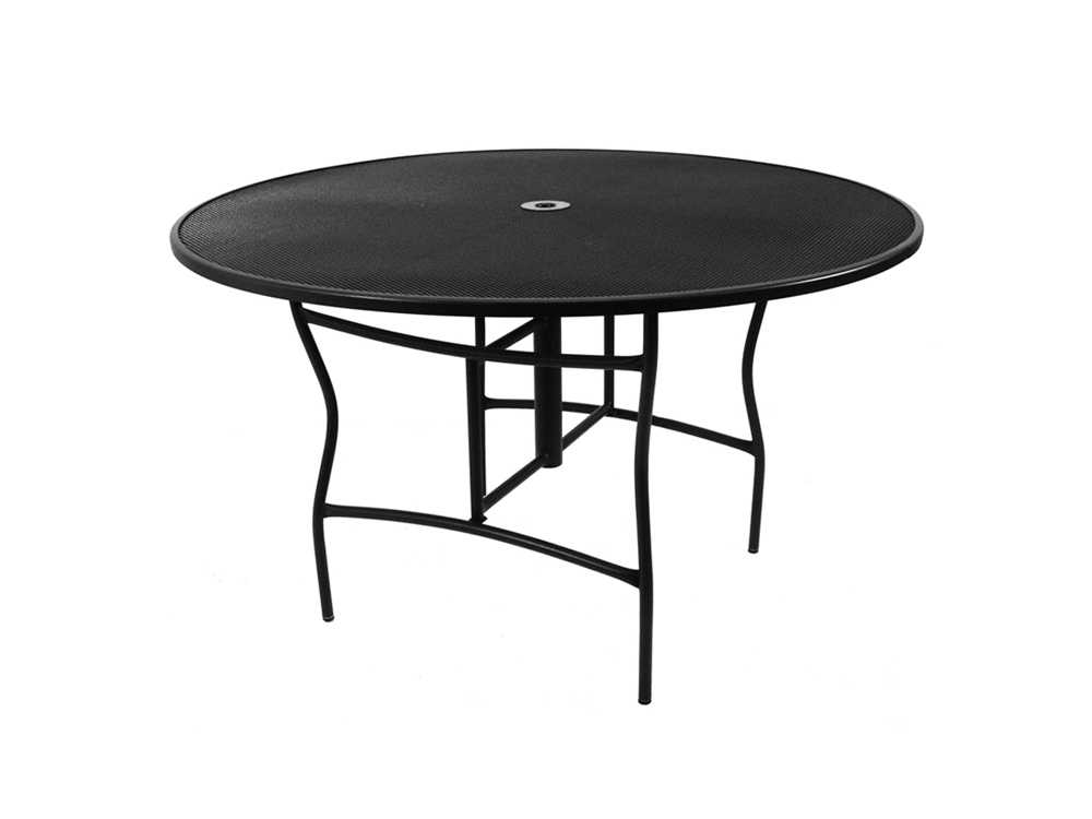 meadowcraft wrought iron 60 round counter height dining table with umbrella hole 2786000 01. Black Bedroom Furniture Sets. Home Design Ideas