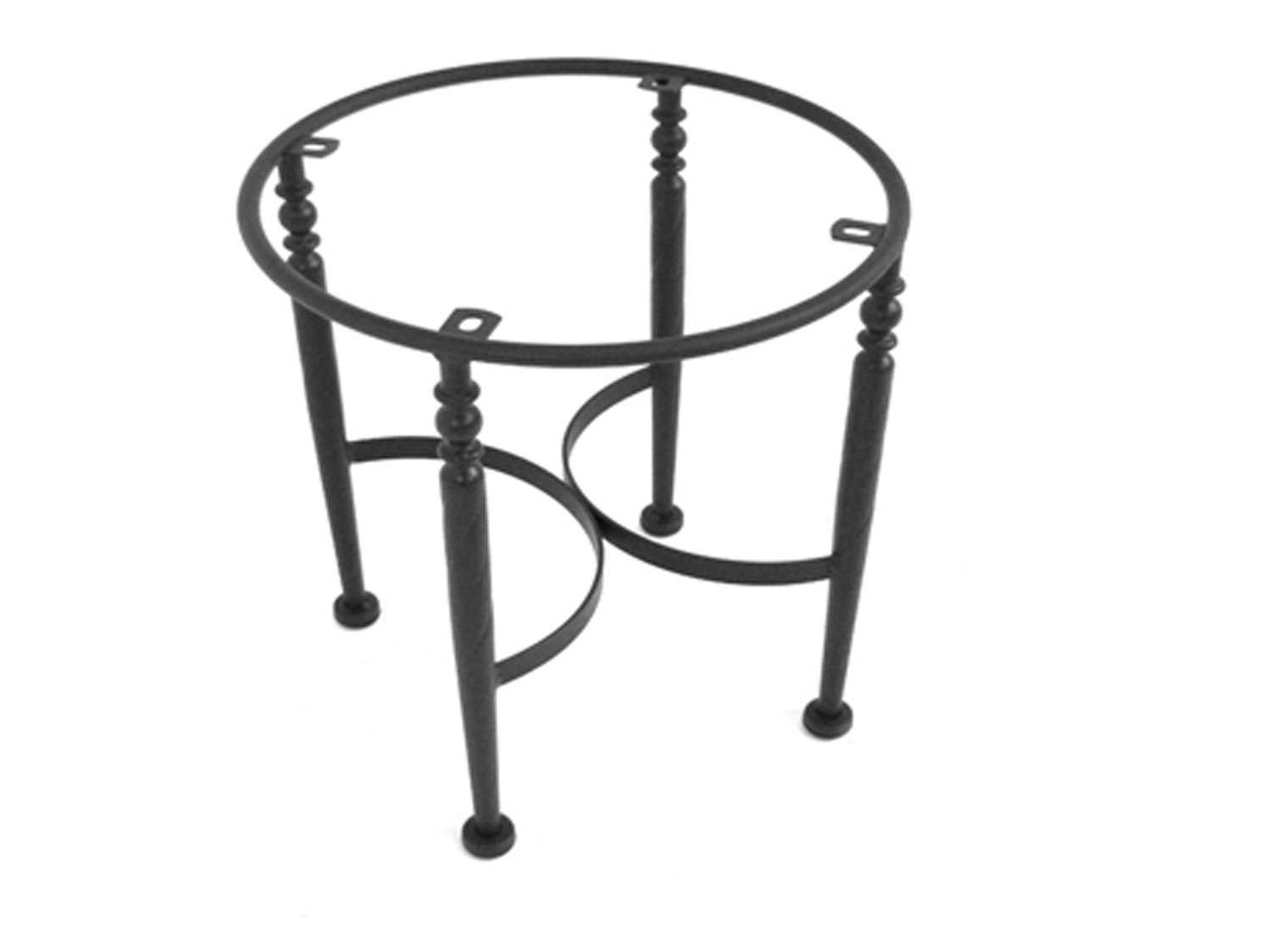 Meadowcraft wrought iron end table base for granite tops for Wrought iron table bases marble top