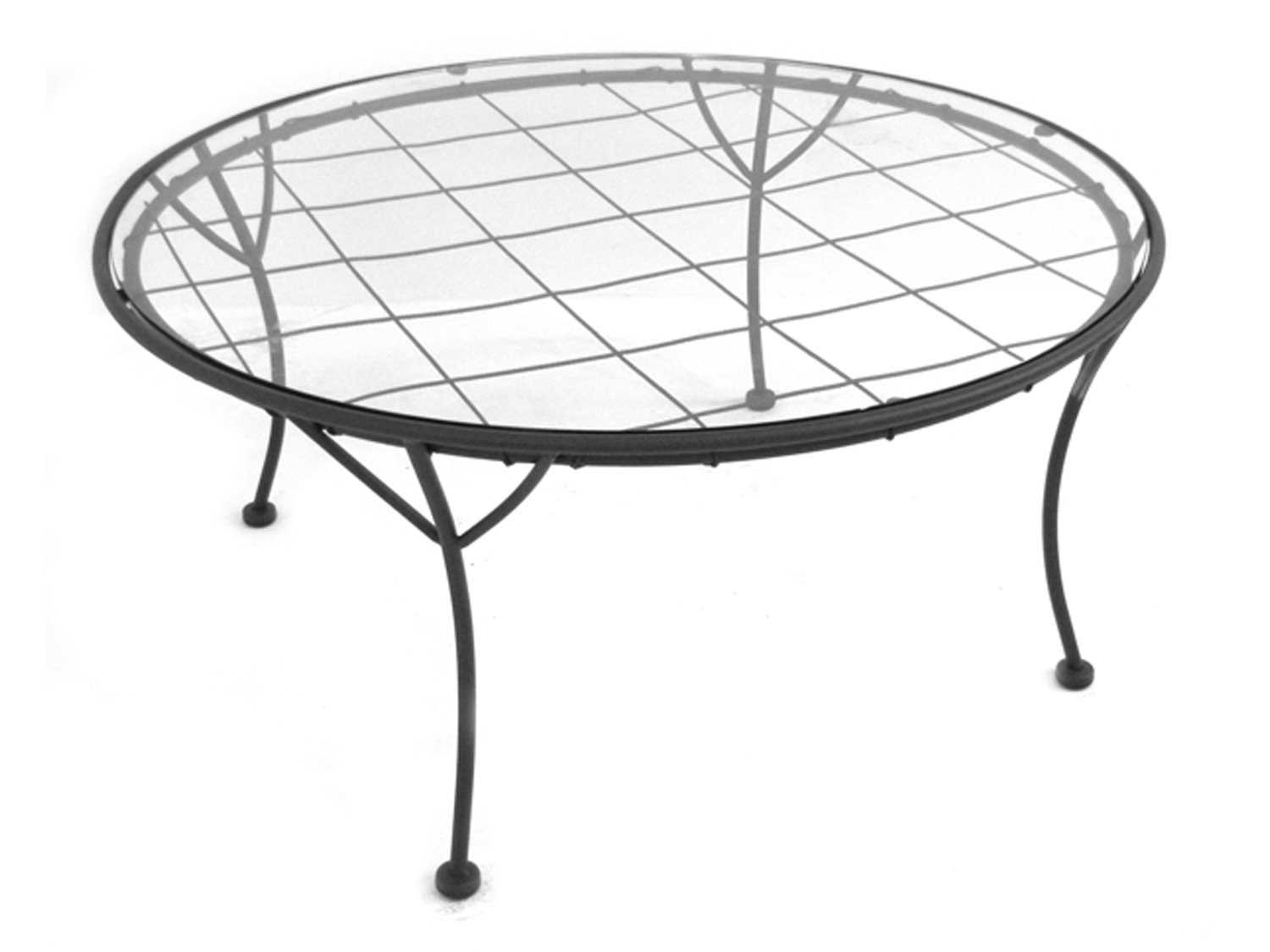 Meadowcraft Heritage Wrought Iron 36 Round Glass Top Chat