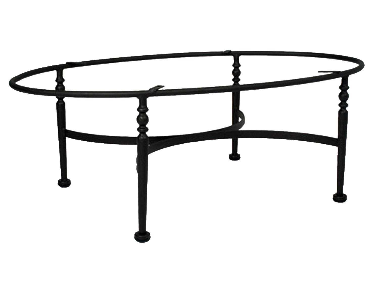 Meadowcraft athens wrought iron coffee table base 3613370 01 for Oval wrought iron coffee table with glass top