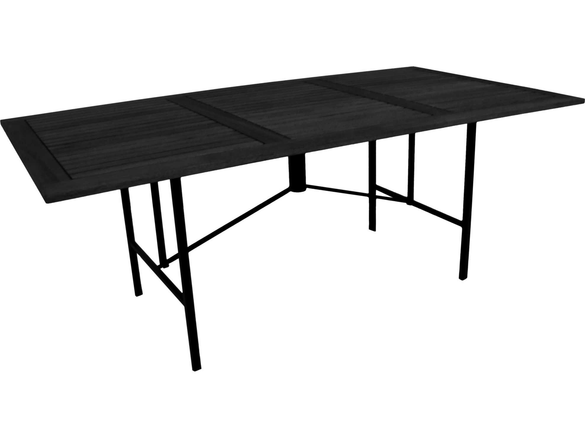 meadowcraft meridian wrought iron 72 x 38 rectangular wood dining table 4557200 01. Black Bedroom Furniture Sets. Home Design Ideas