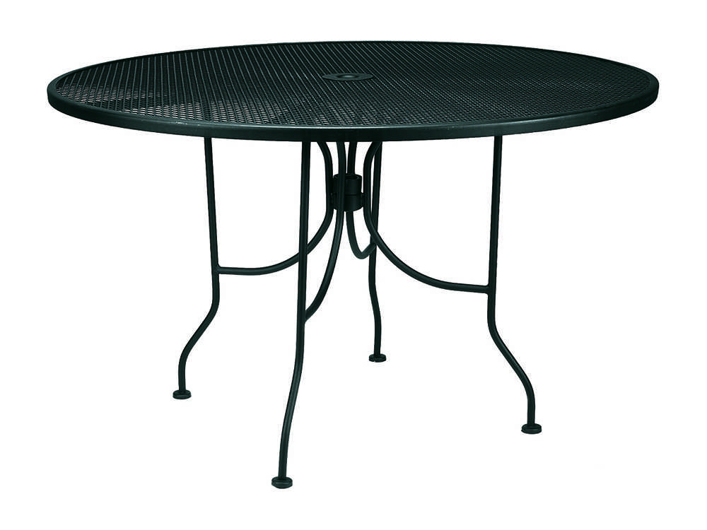 Meadowcraft Wrought Iron 48 Round Regular Mesh Dining Table Ready To ...