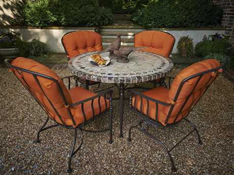 Meadowcraft Athens Wrought Iron 4 Person Cushion Casual Patio Dining Set