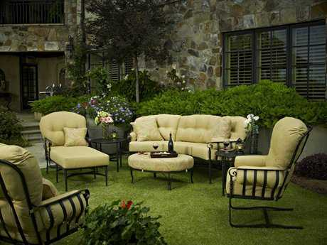 Meadowcraft Athens Wrought Iron 6 Person Cushion Conversation Patio Lounge Set