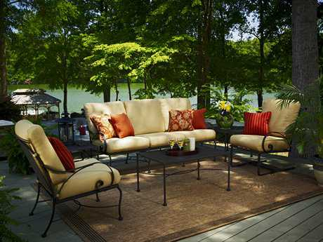 Meadowcraft Monticello Wrought Iron 6 Person Cushion Conversation Patio Lounge Set