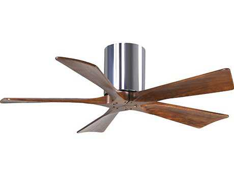 Matthews Fan Company Irene-H Polished Chrome & Walnut Tone 42'' Wide Five-Blade Indoor Ceiling Fan