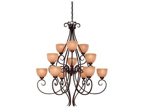 Minka Lavery Caspian Golden Bronze 37.5'' Wide 12-Light Chandelier
