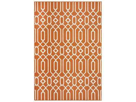 Momeni Baja Modern Orange Machine Made Synthetic Geometric 1'8