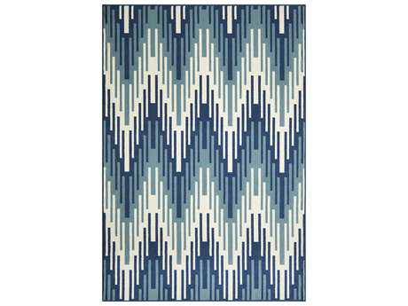 Momeni Baja Modern Blue Machine Made Synthetic Chevron 1'8