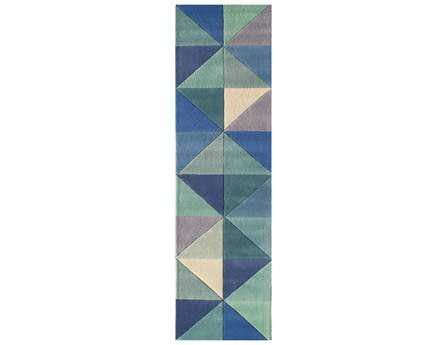 Momeni Delhi Modern Blue Hand Made Wool Geometric Area Rug- DELHIDL-44BLU-RUN