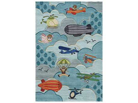 Momeni Lil Mo Whimsy Kids Blue Hand Made Synthetic Graphic 2' x 3' Area Rug - LMOJULMJ10SKY2030