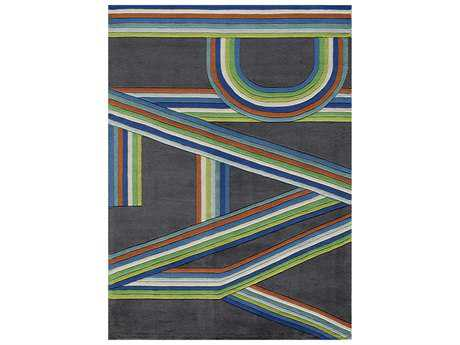 Momeni Lil Mo Hipster Modern Blue Hand Made Synthetic Graphic 2' x 3' Area Rug - LMOTWLMT14BLU2030