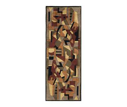 Momeni New Wave Transitional Red Hand Made Wool Graphic 2'6'' x 8' Area Rug - NEWWANW108POM2680