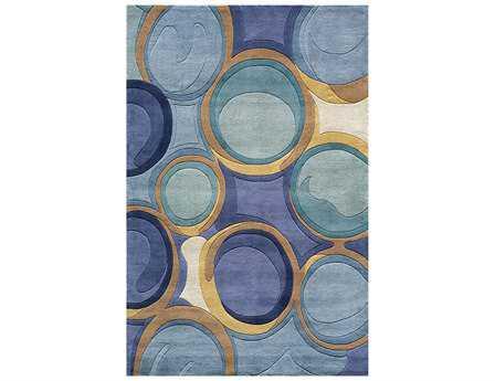 Momeni New Wave Transitional Blue Hand Made Wool Abstract 2' x 3' Area Rug - NEWWANW133BLU2030