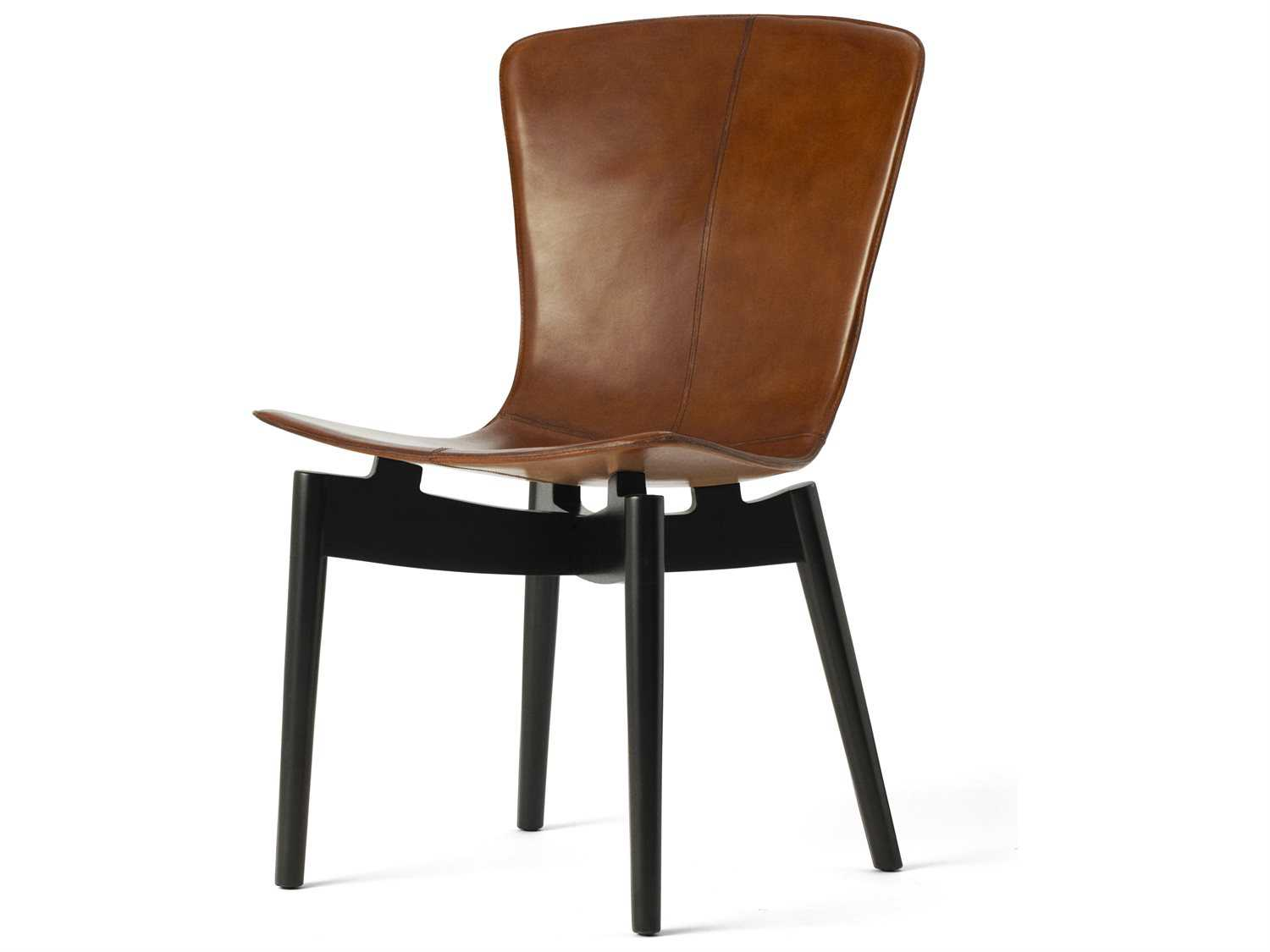Mater shell top in premium brown saddle leather dining for Brown leather dining chairs