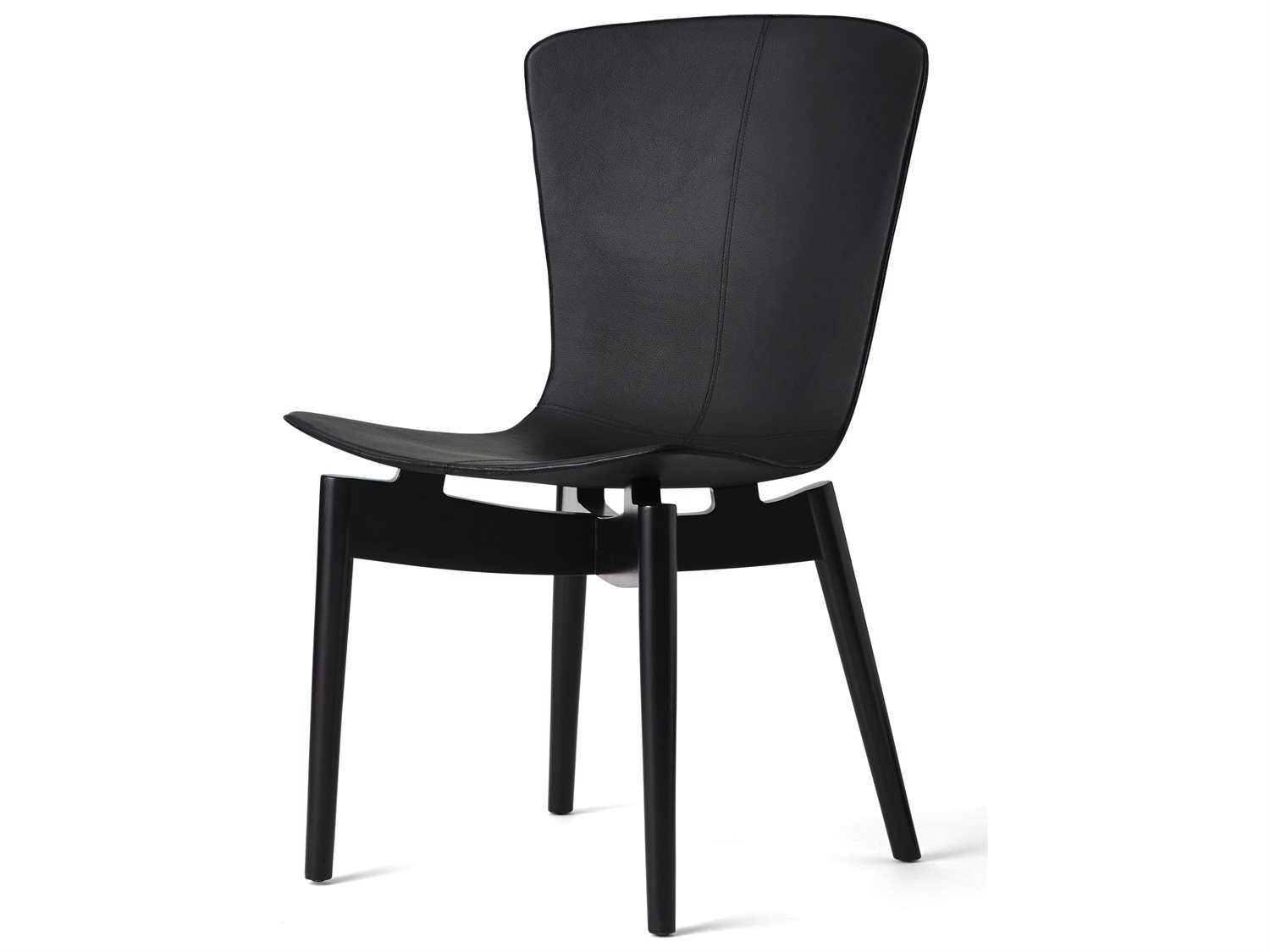 mater shell black leather dining chair 02103. Black Bedroom Furniture Sets. Home Design Ideas