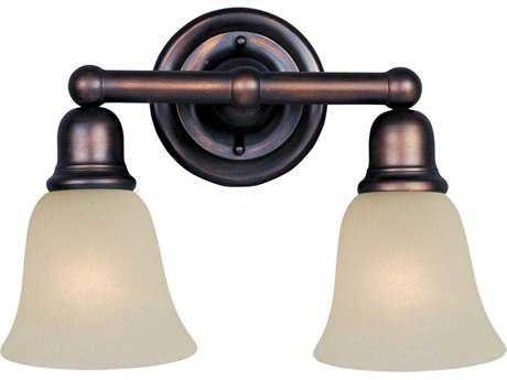 Maxim Lighting Bel Air Oil Rubbed Bronze & Soft Vanilla Glass Two-Light Vanity Light