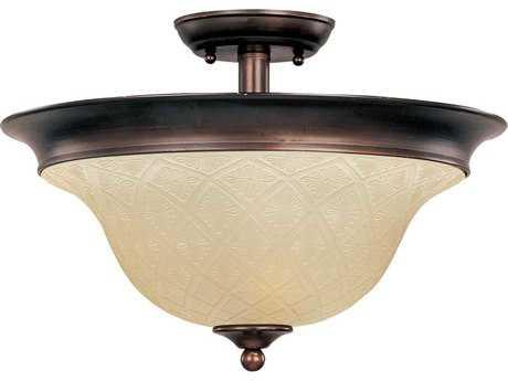 Maxim Lighting Brighton Oil Rubbed Bronze & Embossed Vanilla Glass Three-Light 16'' Wide Semi-Flush Mount Light
