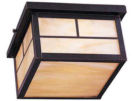 Maxim Lighting Coldwater Burnished & Honey Glass Two-Light 9'' Wide Fluorescent Outdoor Ceiling Light