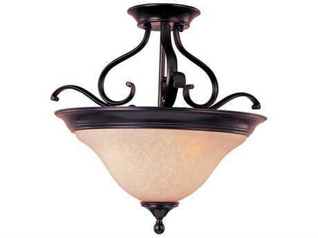 Maxim Lighting Linda Oil Rubbed Bronze & Wilshire Glass Three-Light 19'' Wide Fluorescent Semi-Flush Mount Light