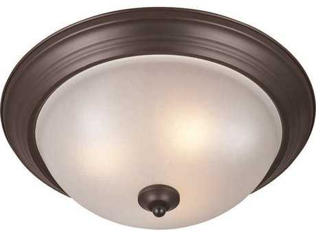 Maxim Lighting Oil Rubbed Bronze & Frosted Glass & Frosted Glass Three-Light 15.5'' Wide Fluorescent Flush Mount Light