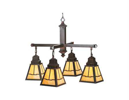 Meyda Tiffany Valley View Mission Four-Light 30 Wide Chandelier