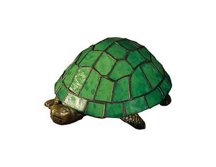 Meyda Tiffany Turtle Tiffany Glass Green Accent Table Lamp