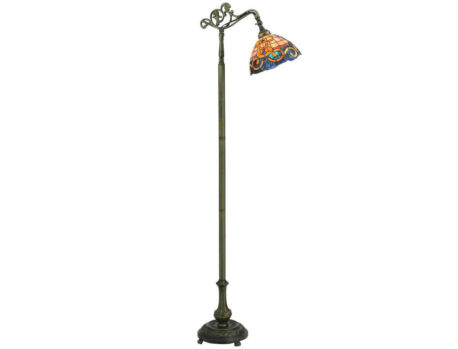 meyda tiffany saturday morning bridge arm multi color floor lamp 120578. Black Bedroom Furniture Sets. Home Design Ideas