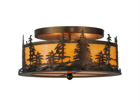 Meyda Tiffany Tall Pines Two-Light Flush Mount Light