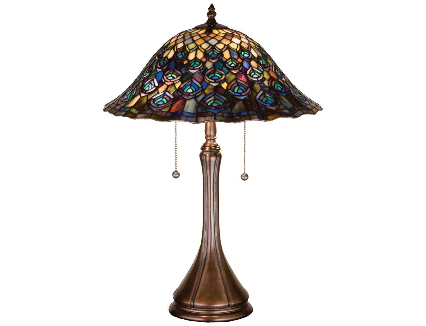 Meyda Tiffany Peacock Feather Multi Color Table Lamp 14574