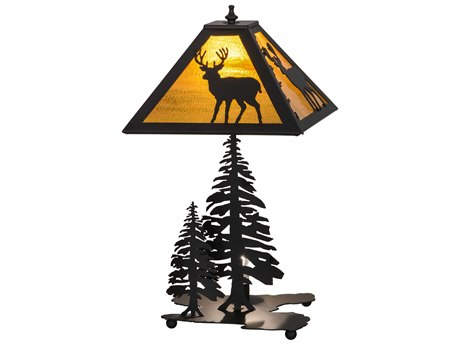 Meyda Tiffany Placid Deer with Lighted Base Multi-Color Table Lamp