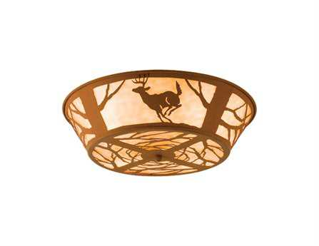 Meyda Tiffany Deer On The Loose Four-Light Flush Mount Light