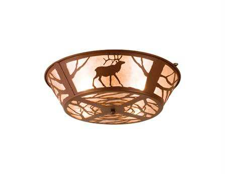 Meyda Tiffany Elk On The Loose Four-Light Flush Mount Light