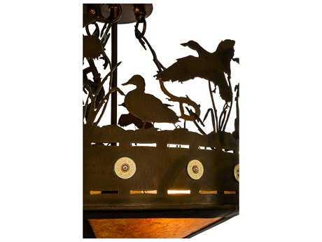 Meyda Lighting Ducks in Flight Antique Copper Four-Light 16'' Wide Flush Mount Light