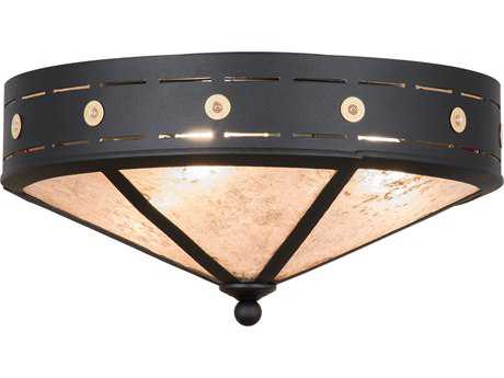 Meyda Lighting Craftsman Target Black 24'' Wide Flush Mount Light