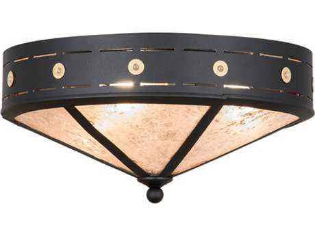 Meyda Lighting Craftsman Target Black 18'' Wide Flush Mount Light